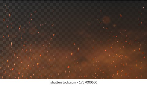 Fire sparks background on a transparent background. Burning hot sparks, embers burning cinder and smoke flying in the air. Realistic heat effect with glow and sparks from bonfire. Flying up embers