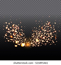 Fire sparks of metal welding isolated on transparent background.  During iron cutting. Vector illustration.