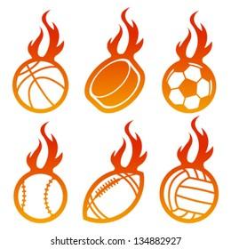 Fire Sport Balls Logo Icons