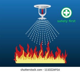 fire sprinkler, safety, vector design icon