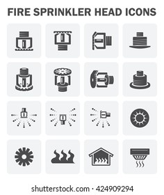Fire sprinkler system and device vector icon sets design.