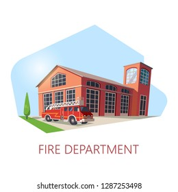 Fire station building or fire department construction. Isometric firehouse with truck for firefighters. Exterior view on structure for rescue. Emergency institution. Life saving and architecture theme