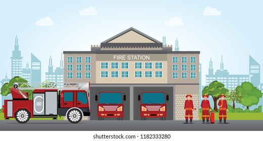 Fire station building with emergency vehicle fire engine truck and fire man,flat design vector illustration.