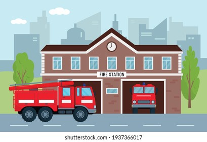 Fire station building with fire engines in city. Fire department house facade and red emergency vehicle. Emergency service concept. Vector illustration.