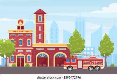 Fire station building exterior colorful flat vector illustration. Big red emergency vehicle with ladder and extinguishers. Firefighter engine truck on city road. Fire department house facade.