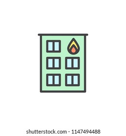 Fire station filled outline icon, line vector sign, linear colorful pictogram isolated on white. Firehouse building symbol, logo illustration. Pixel perfect vector graphics