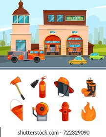 Fire station and firehouse, equipment for fire department