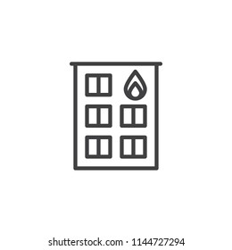 Fire station outline icon. linear style sign for mobile concept and web design. Firehouse building simple line vector icon. Symbol, logo illustration. Pixel perfect vector graphics