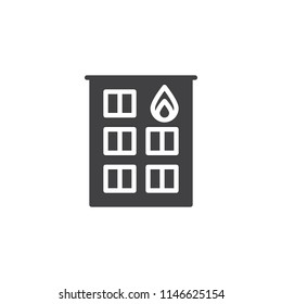 Fire station vector icon. filled flat sign for mobile concept and web design. Firehouse building simple solid icon. Symbol, logo illustration. Pixel perfect vector graphics