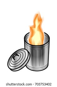 Fire in steel trash/rubbish can/bin with lid opened on the side. Dumpster fire concept.