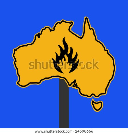 Fire Symbol On Australia Map Sign Stock Vector (Royalty Free ...