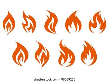 Fire symbols isolated on white background. Vector illustration