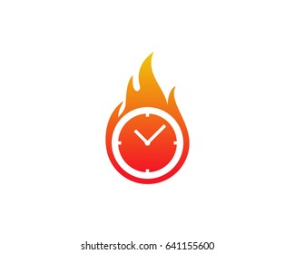 Fire Time Icon Logo Design Element