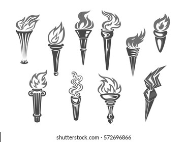 Fire torch icons. Vector isolated burning torches flames. Symbols of relay race, competition victory, champion or winner and football sports or sportive games championship or marathon