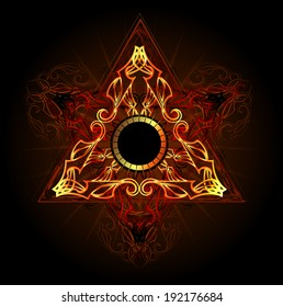 Fire triangle esoteric symbol on black background.