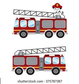 Fire truck cartoon illustration