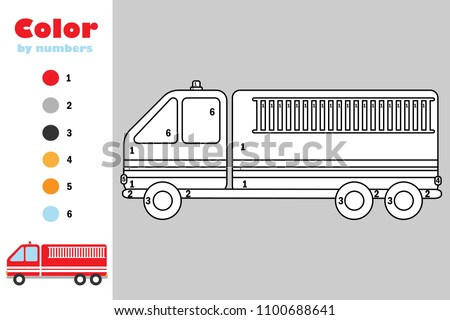 Fire Truck Cartoon Style Color By Stock Vector (Royalty Free ...