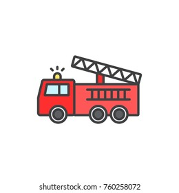 Fire truck colored flat line icon.
