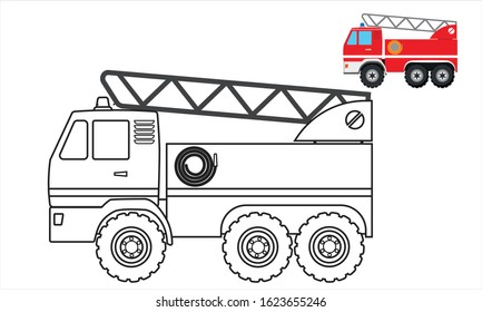 fire truck coloring book, vehicle