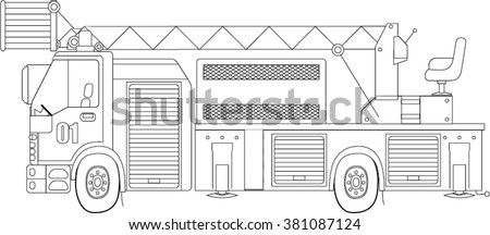 Fire Truck Coloring Page Line Vector Illustration Engine Outline