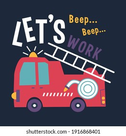fire truck design funny cartoon