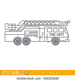 Fire truck. Editable vector icon in linear style.