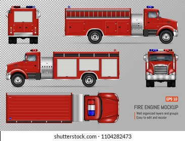 Fire Truck Engine Vector Mockup For Vehicle Branding, Corporate Identity.  View From Front,
