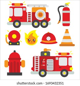 fire truck and equipment vector