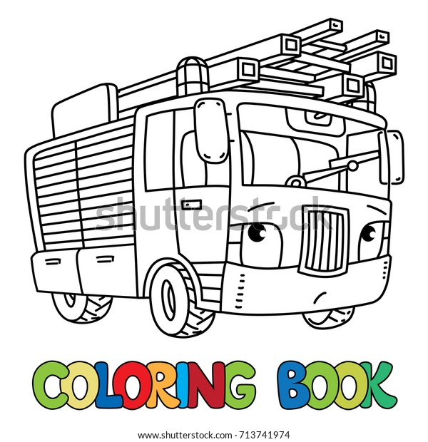 Fire Truck Firemachine Eyes Coloring Book Stock Vector ...