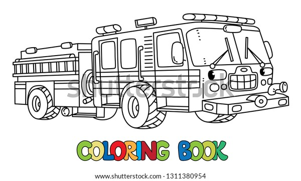 Fire Truck Machine Coloring Book Kids Stock Vector (Royalty ...