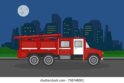 Fire truck in the night city background. Vector illustration.