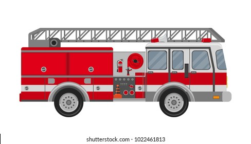 Fire truck on a white background.