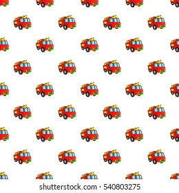Fire truck pattern. Cartoon illustration of fire truck vector pattern for web
