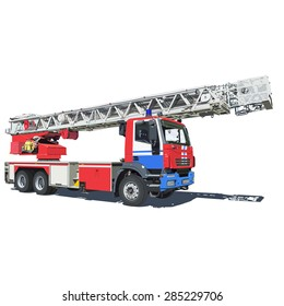 Fire truck red blue color vector illustration of isolated on a white background