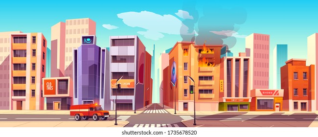 Fire truck riding on city street to burning building with blaze and smoke break out of windows. Firefighters hurry to accident in town, house in flame, red car on crossroad Cartoon vector illustration