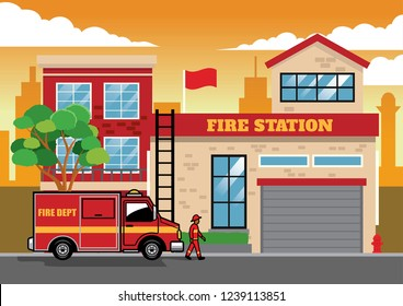 fire truck in fire station