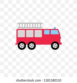 Fire truck vector icon isolated on transparent background, Fire truck logo concept