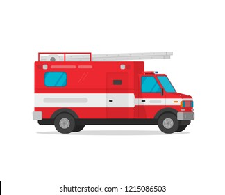 Fire truck vector illustration, flat cartoon firetruck emergency vehicle isolated on white background