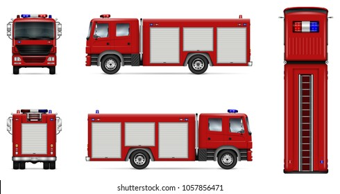 Fire truck vector mock-up. Isolated template of red lorry on white. Vehicle branding mockup. Side, front, back, top view. All elements in the groups on separate layers. Easy to edit and recolor