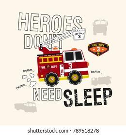 Fire Truck,Car, T- Shirt