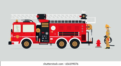 Fire trucks with firefighters and fire fighting equipment.