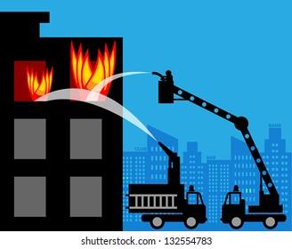 Fire trucks, vector illustration