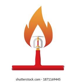 Fire Upright Sprinkler Head Vector illustration on White Background