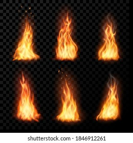 Fire, vector campfire, isolated torch flame. Burning bonfire blaze effect, glow orange and yellow shining flare with sparks, flying particles, embers and steam. Realistic 3d ignition tongues set