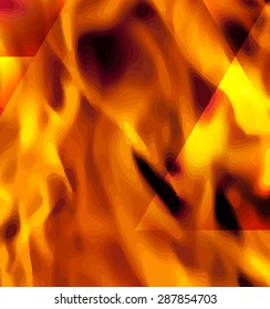Fire in vector format for use as a design element or a creative background. Fire flame on black background.