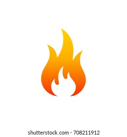 Fire - vector icon. Danger warning icon. Flame sign. Fire hazard. Alert sign. Risk sign. Fire protection. Fire hazardous. Devouring element. Logo template. Ignition icon. Flash flame. Flammable