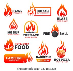 Fire vector icons of red flame and orange blaze with fireball, campfire and bonfire, barbeque grill, spice pizza and hot chilli food, sale discount tag and fireplace. Emblems, labels and badges design