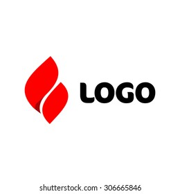 Fire vector logo. Elegant red flame icon.