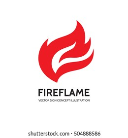 Fire - vector logo template concept illustration. Flame creative sign. Hot warm icon. Dangerous symbol. Design element.
