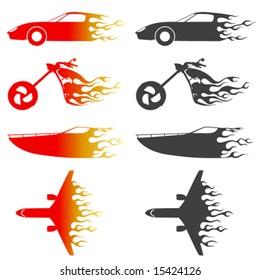 fire vehicles vector